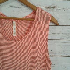 Match Point Linen Orange Cream Stripe Tank Dress
